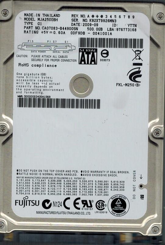 Fujitsu MJA2500BH 500GB P/N:CA07083-B44900SN DATE: 2009 09