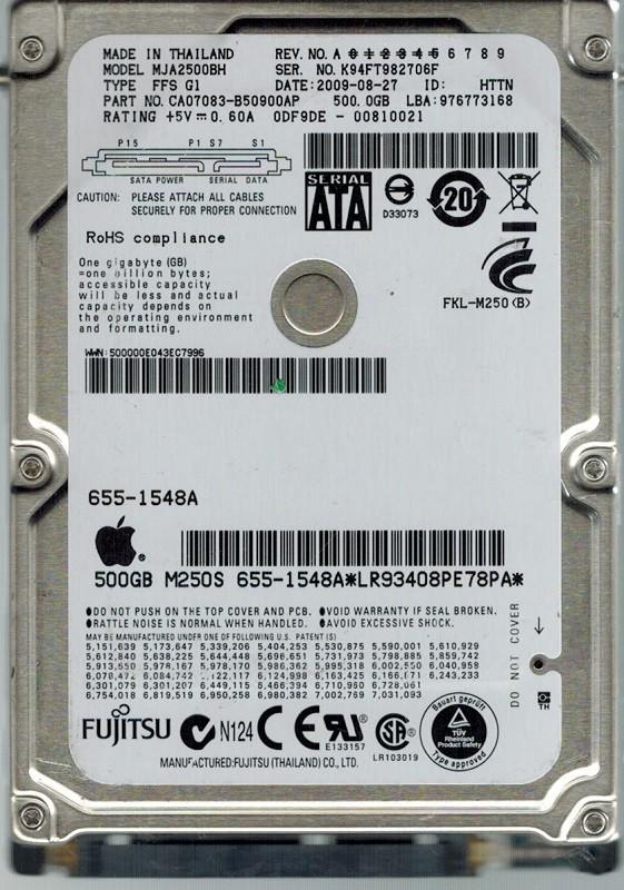 Fujitsu MJA2500BH P/N: CA07083-B50900AP 500GB DATE: 2009-08-27  MAC