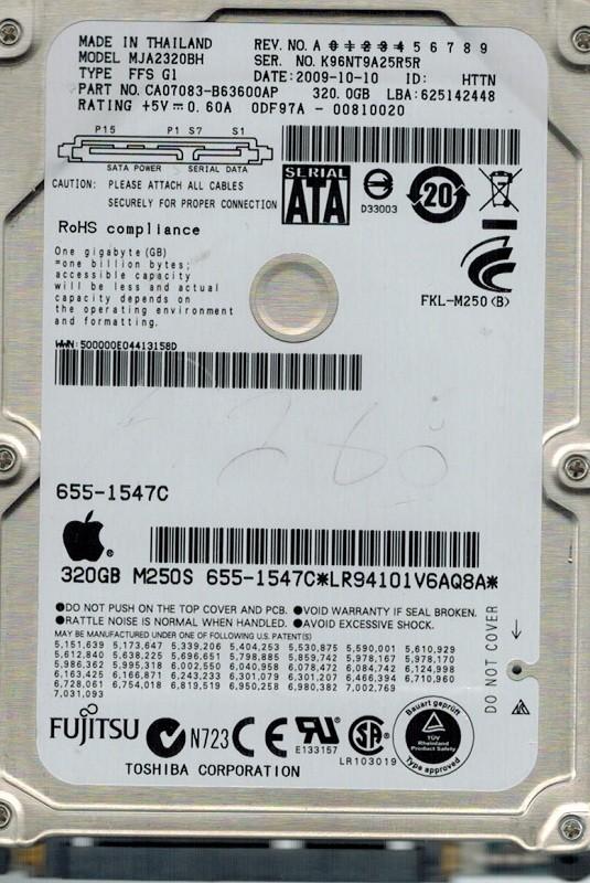 Fujitsu MJA2320BH 320GB P/N: CA07083-B63600AP MAC APPLE
