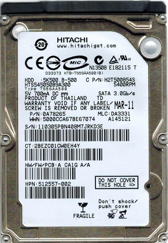 Hitachi HTS545050B9A300 P/N: 0A78265 MLC: DA3331 500GB