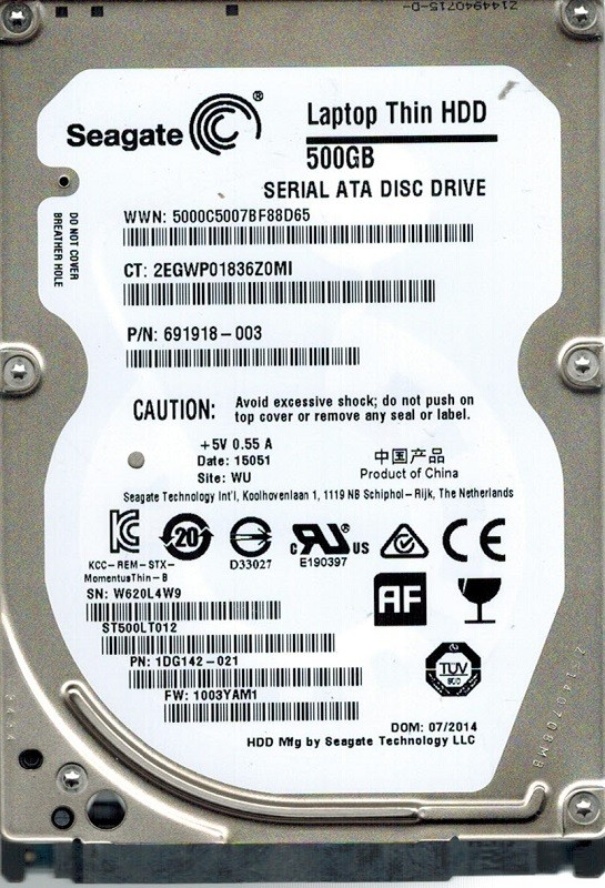 Seagate ST500LT012 P/N: 1DG142-021 F/W: 1003YAM1 500GB WU