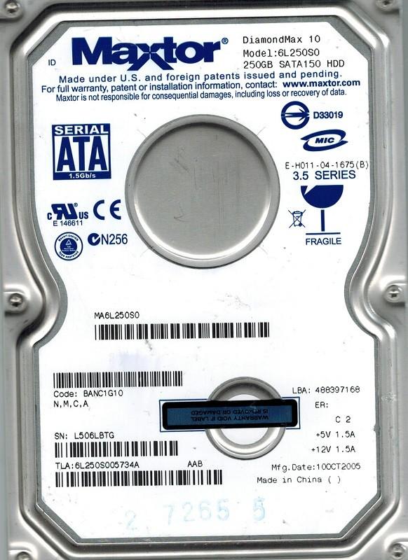Maxtor 6L250S0 250GB SATA CODE: BANC1G10 N,M,C,A
