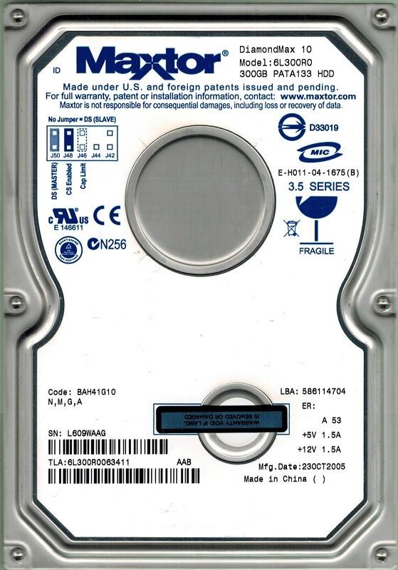 Maxtor 6L300R0  CODE: BAH41G10 N, M, G, A 300GB IDE