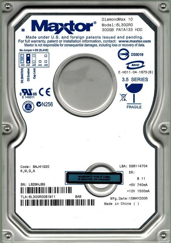 Maxtor 6L300R0 300GB IDE CODE: BAJ41G20 K, M, G, A