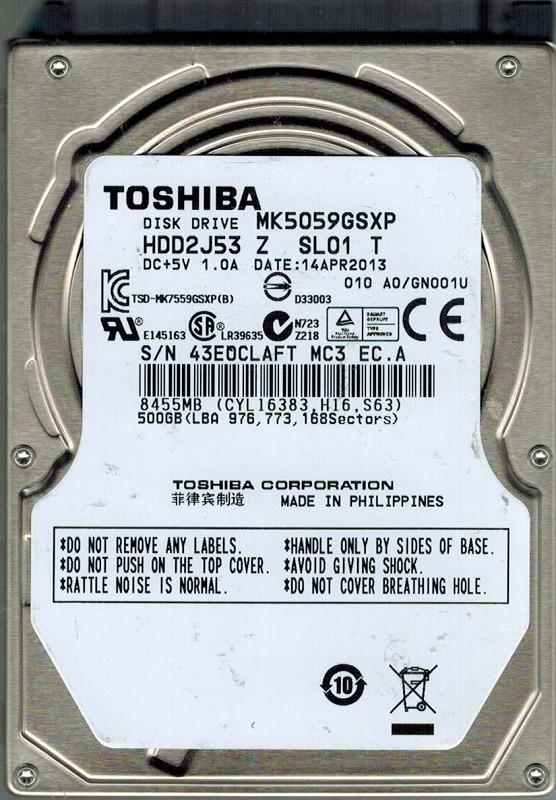 Toshiba MK5059GSXP 500GB HDD2J53 Z SL01 T F/W: A0/GN001U