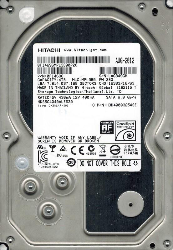 Hitachi HDS5C4040ALE630 P/N: 0F14696 MLC: MPL3B0 4TB