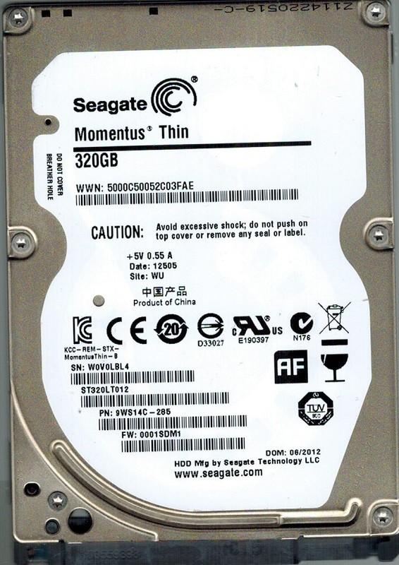 Seagate ST320LT012 P/N: 9WS14C-285 F/W: 0001SDM1 WU 320GB