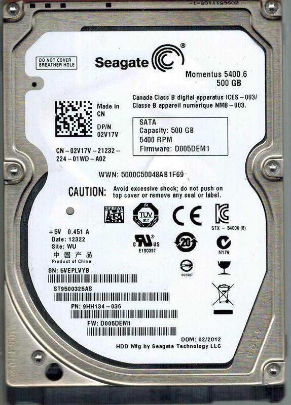 Seagate ST9500325AS P/N: 9HH134-036 F/W: D005DEM1 500GB WU