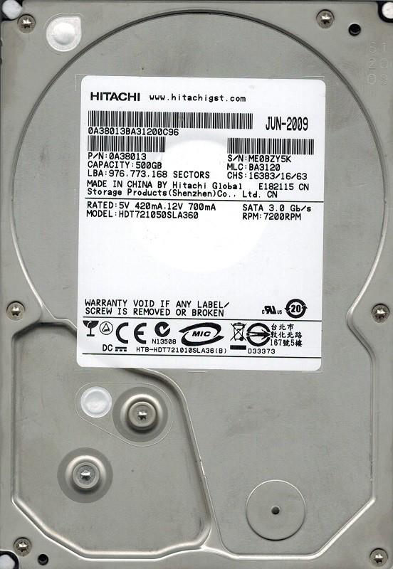 Hitachi HDT721050SLA360 P/N: 0A38013 MLC: BA3120 500GB