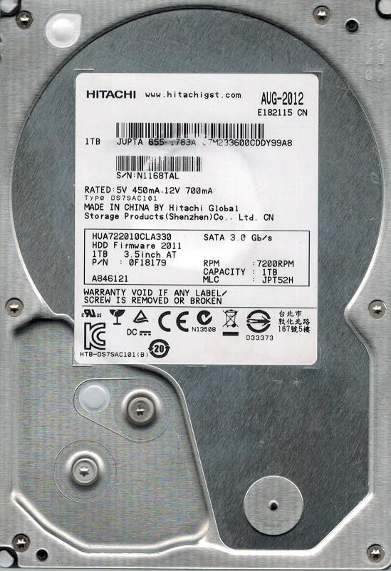 Hitachi HUA722010CLA330 P/N: 0F18179 MLC: JPT52H 1TB