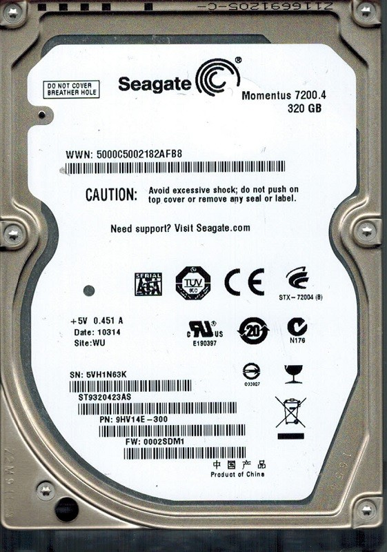 Seagate ST9320423AS P/N: 9HV14E-300 F/W: 0002SDM1 320GB WU