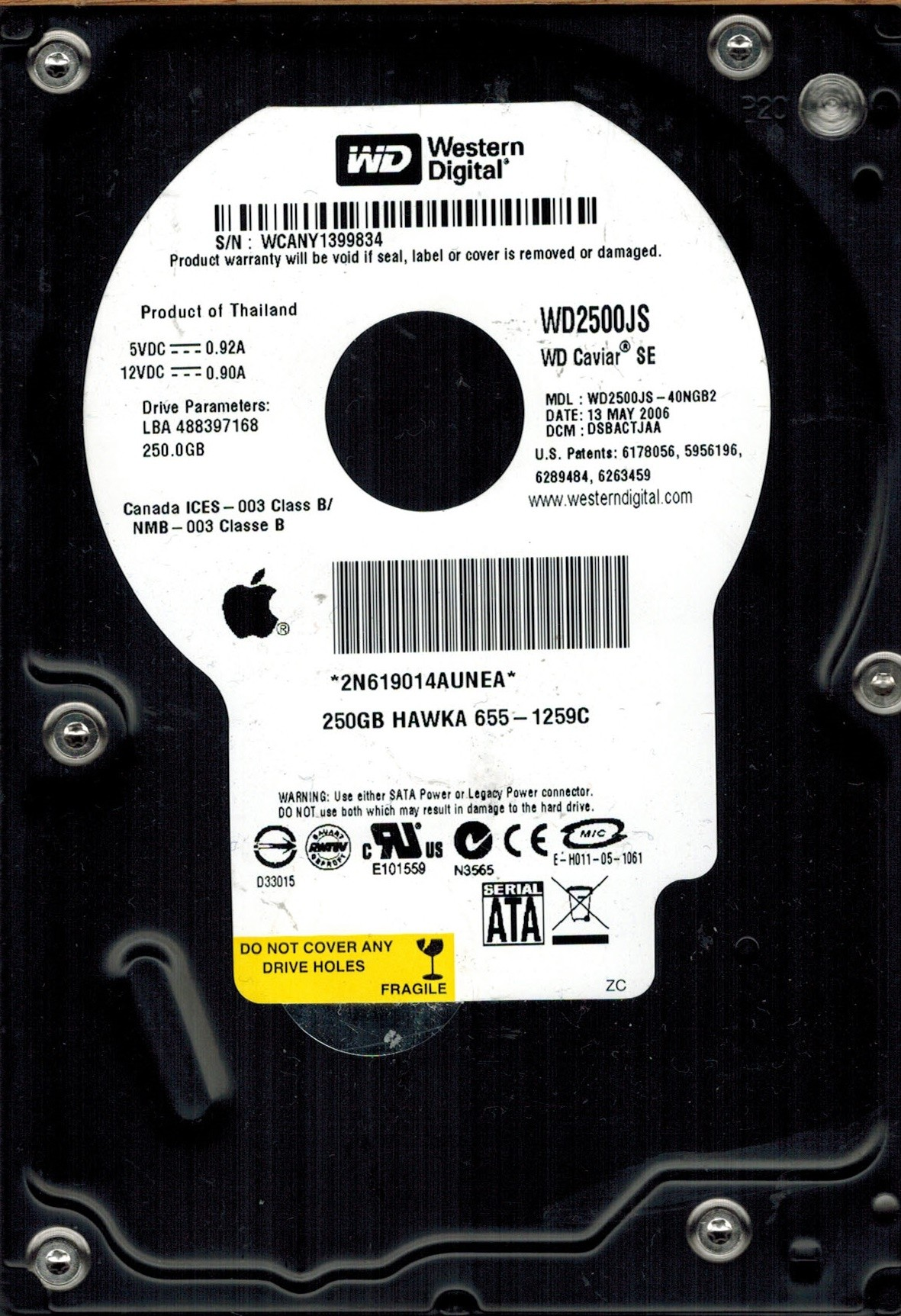Western Digital WD2500JS-40NGB2 DCM: DSBACTJAA APPLE MAC 250GB