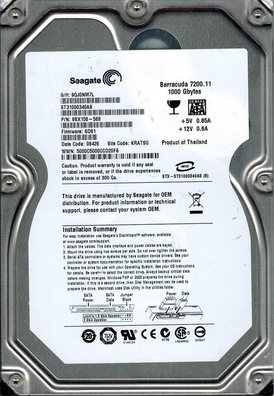ST31000340AS Seagate F/W: SD81 P/N: 9BX158-568 1TB KRATSG