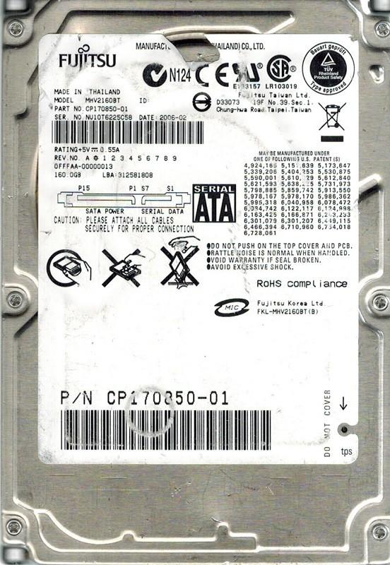 Fujitsu MHV2160BT 160GB P/N: CP170850-01 DATE:2006-02
