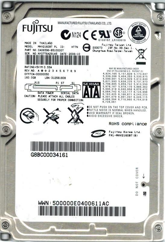Fujitsu MHV2160BT 160GB P/N: CA06596-B510000T DATE: 2006-10
