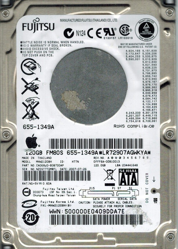 Fujitsu MHW2120BH MAC 120GB P/N: CA06820-B38700AP APPLE
