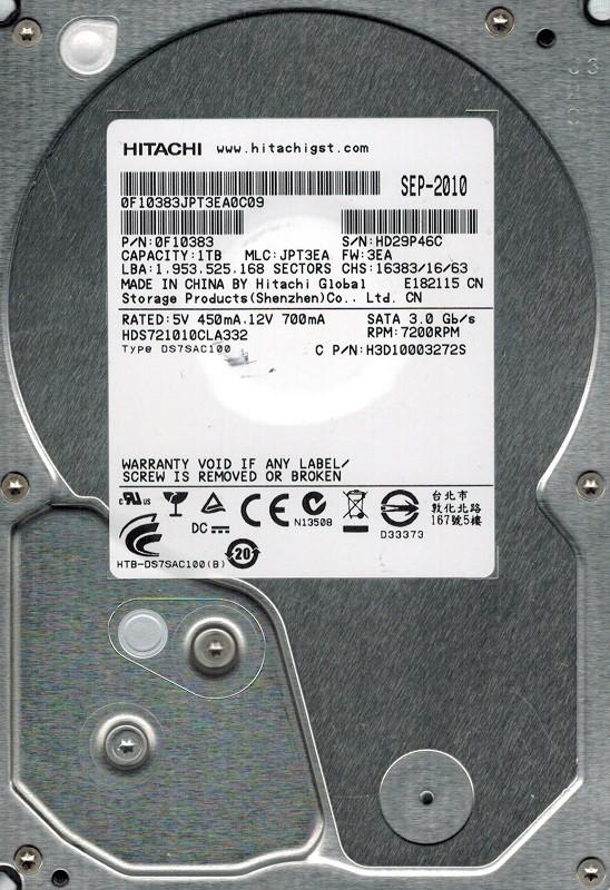 Hitachi HDS721010CLA332 1TB P/N: 0F10383 MLC: JPT3EA