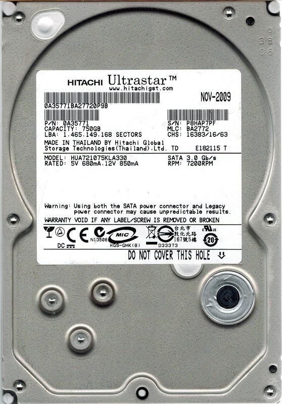 Hitachi HUA721075KLA330 P/N: 0A35771 MLC: BA2772 750GB