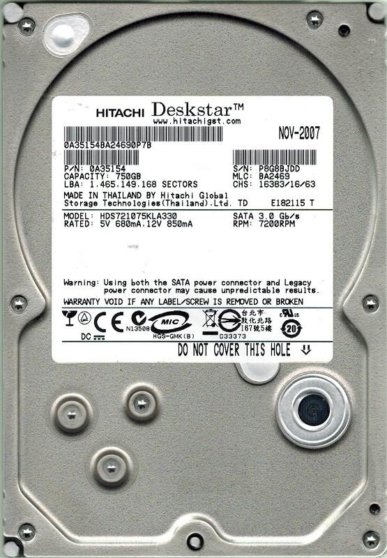 Hitachi HDS721075KLA330 750GB P/N: 0A35154 MLC: BA2469
