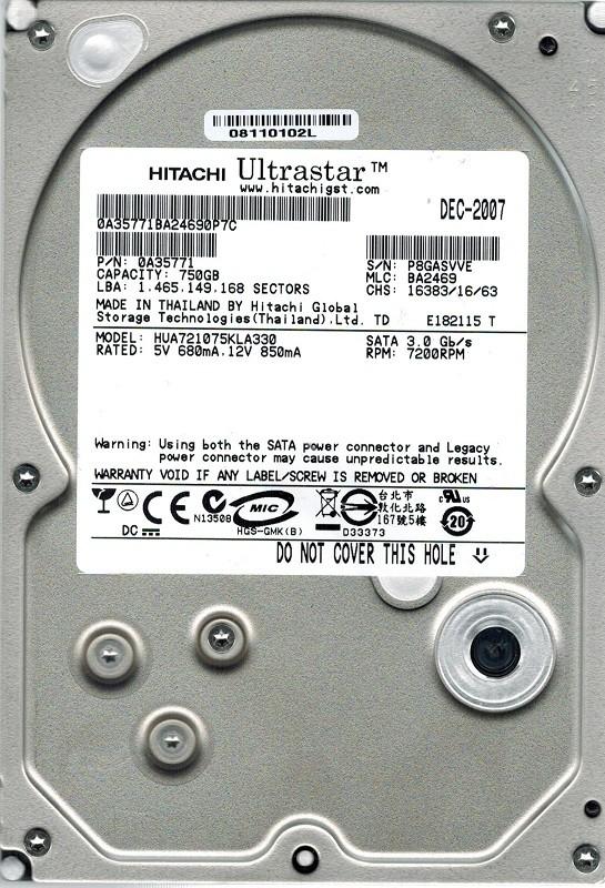 Hitachi HUA721075KLA330 P/N: 0A35771 750GB MLC: BA2469