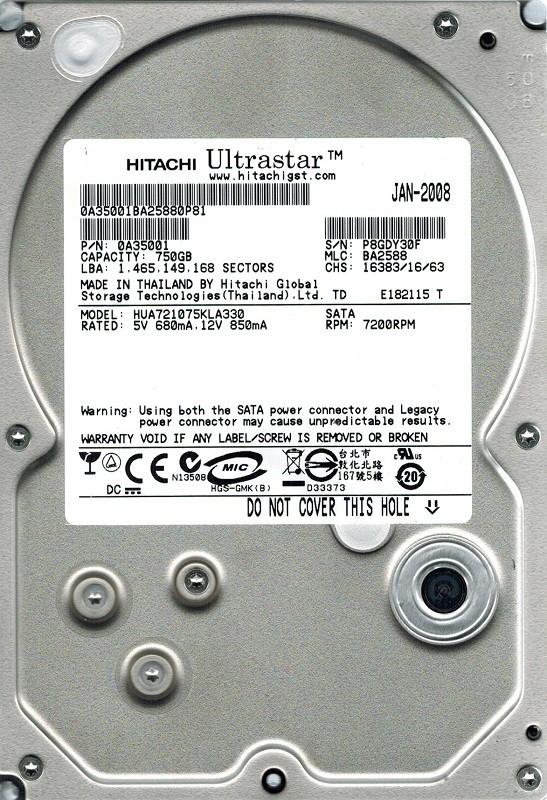 Hitachi HUA721075KLA330 P/N: 0A35001 750GB MLC: BA2588