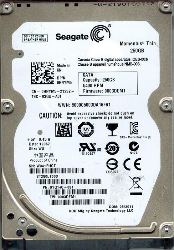 Seagate ST250LT003 P/N: 9YG14C-031 F/W: 0003DEM1 250GB WU