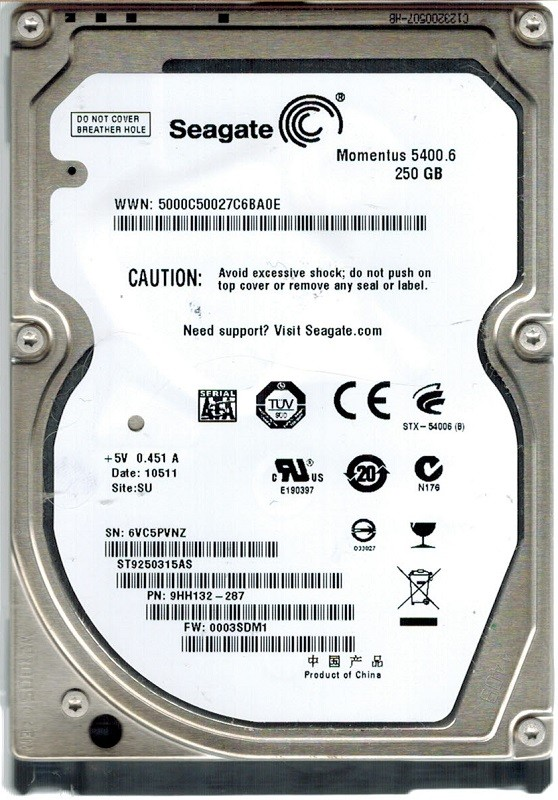 Seagate ST9250315AS 250GB P/N: 9HH132-287 F/W: 0003SDM1 SU