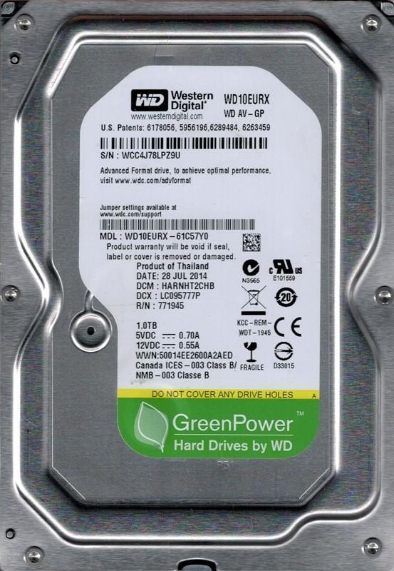Western Digital WD10EURX-61C57Y0 DCM: HARNHT2CHB 1TB