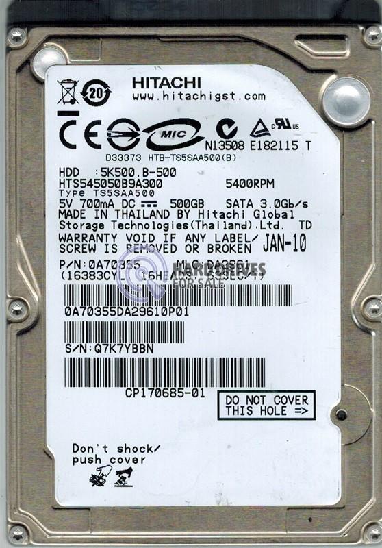 Hitachi HTS545050B9A300 P/N: 0A70355 MLC: DA2961 500GB
