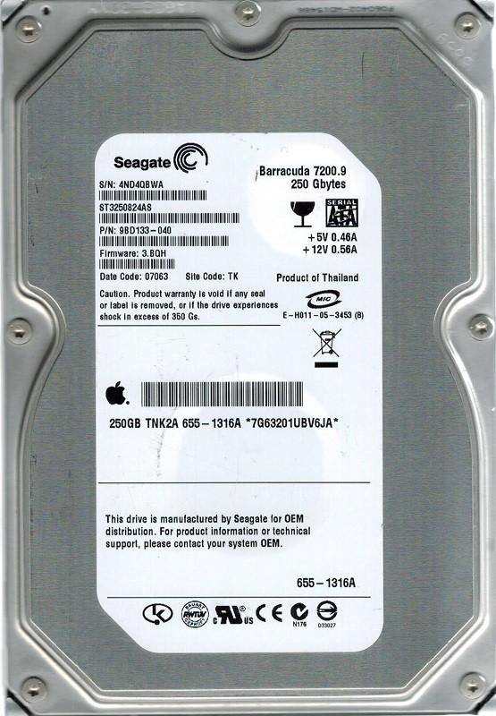 Seagate ST3250824AS P/N: 9BD133-040 F/W: 3.BQH MAC 655-1316A 250GB TK