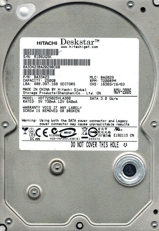 Hitachi HDT725025VLA380 MLC: BA2029 P/N: 0A33423 250GB