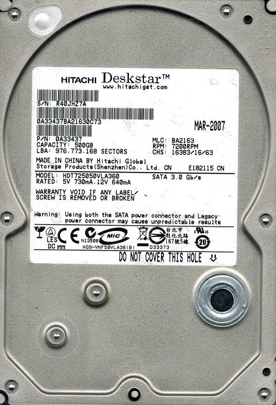 Hitachi HDT725050VLA360 P/N: 0A33437 MLC: BA2163 500GB