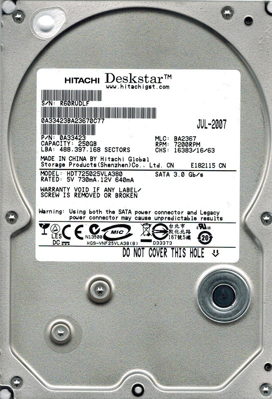 Hitachi HDT725025VLA380 P/N: 0A33423 MLC: BA2367 250GB