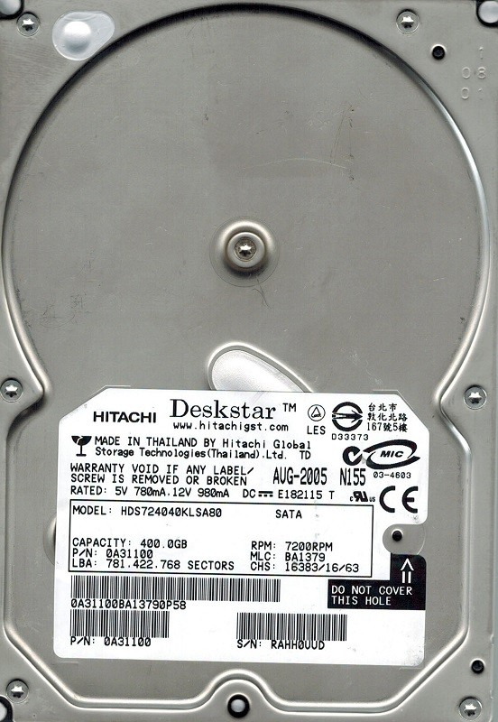 Hitachi HDS724040KLSA80 P/N: 0A31100 MLC: BA1379 400GB