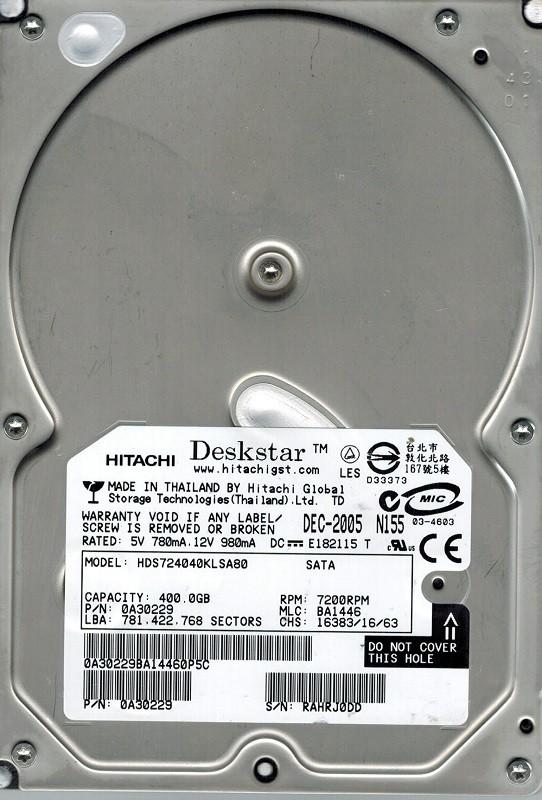 Hitachi HDS724040KLSA80 P/N: 0A30229 MLC: BA1446 400GB