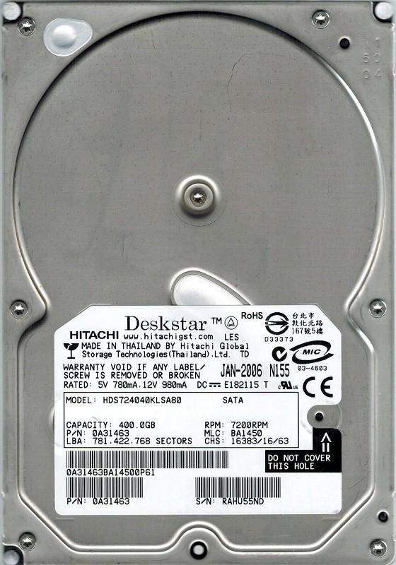 Hitachi HDS724040KLSA80 P/N: 0A31463 400GB MLC: BA1450