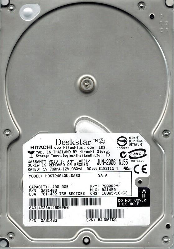 Hitachi HDS724040KLSA80 P/N: 0A31463 MLC: BA1450 400GB