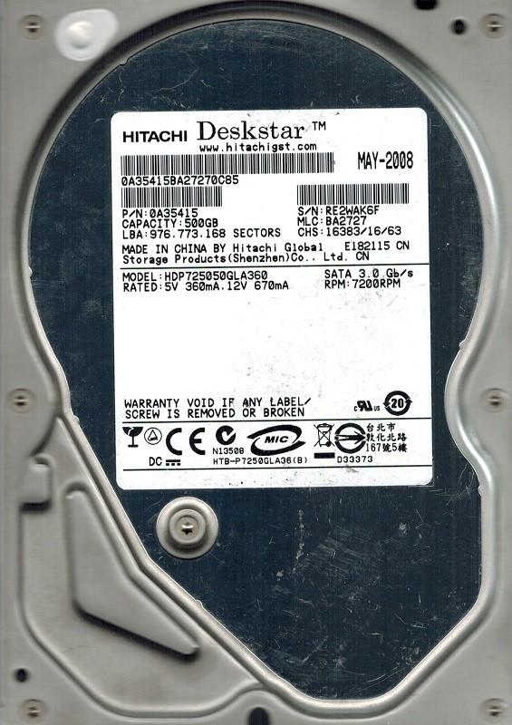 Hitachi HDP725050GLA360 P/N: 0A35415 MLC: BA2727 500GB