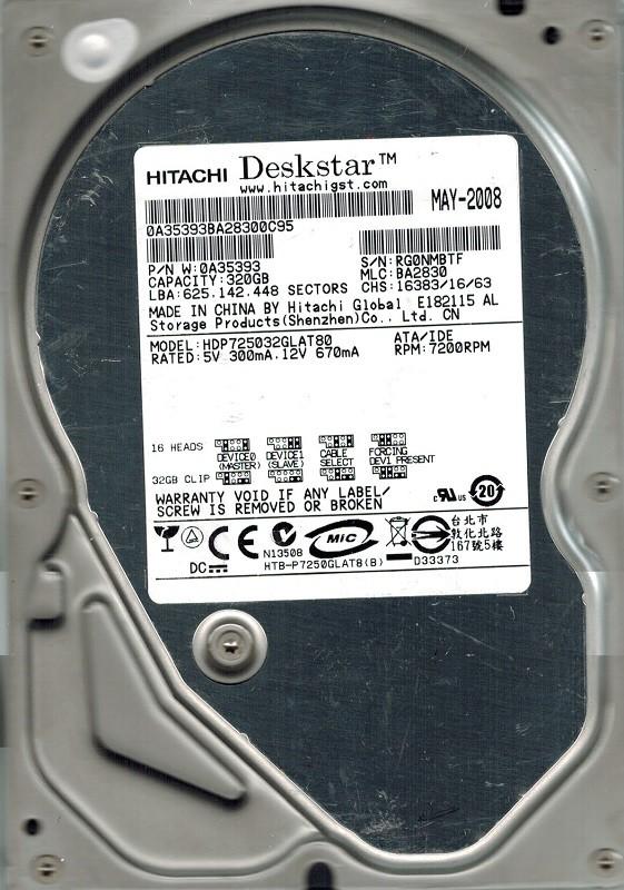 Hitachi HDP725032GLAT80 P/N: 0A35393 320GB MLC: BA2830
