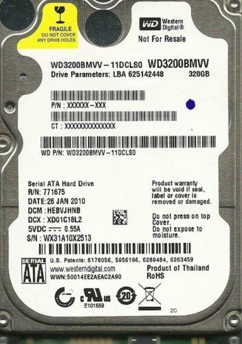 WESTERN DIGITAL 320GB WD3200BMVV-11DCLS0 HEBVJHNB USB