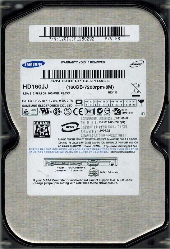 Samsung HD160JJ SPINPOINT 160GB SATA P/N: 1201J1FL280292