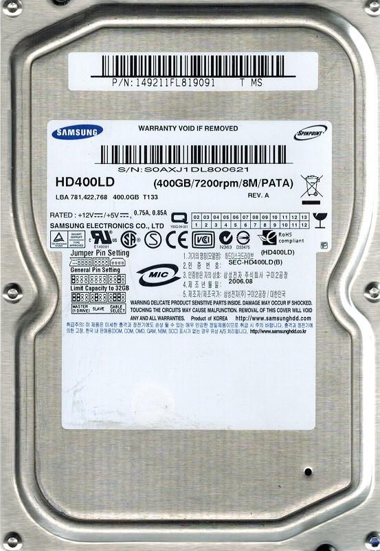 Samsung HD400LD SPINPOINT 400GB P/N: 149211FL819091