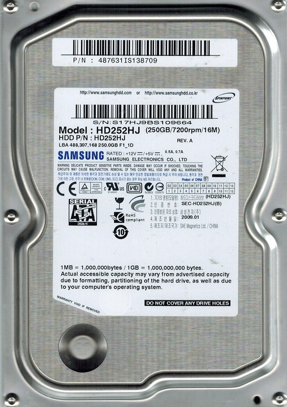 Samsung HD252HJ SPINPOINT 250GB P/N:487631IS138709