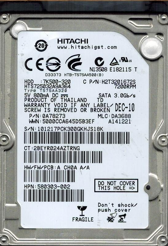 Hitachi HTS725032A9A364 P/N: 0A78273 MLC: DA3688 320GB