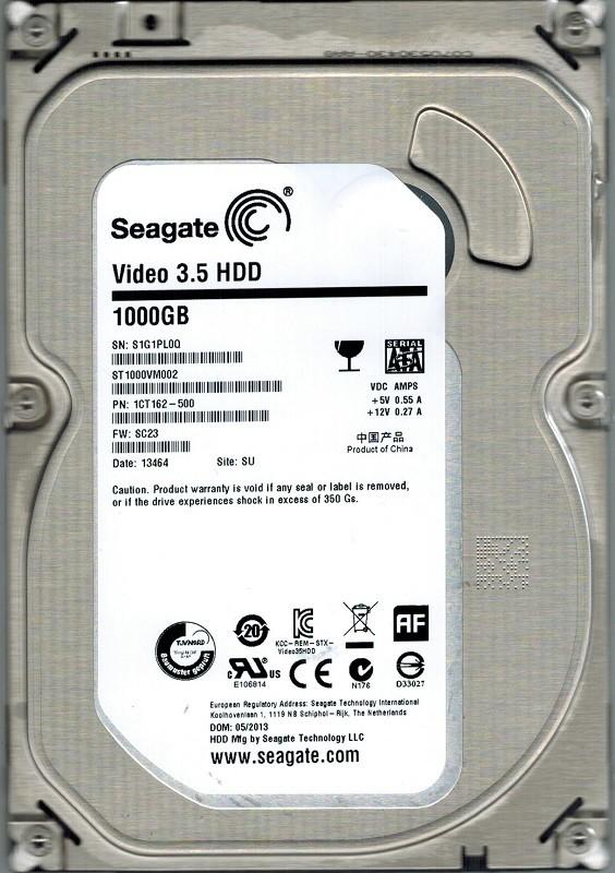 Seagate ST1000VM002 P/N: 1CT162-500 F/W: SC23 SU 1TB