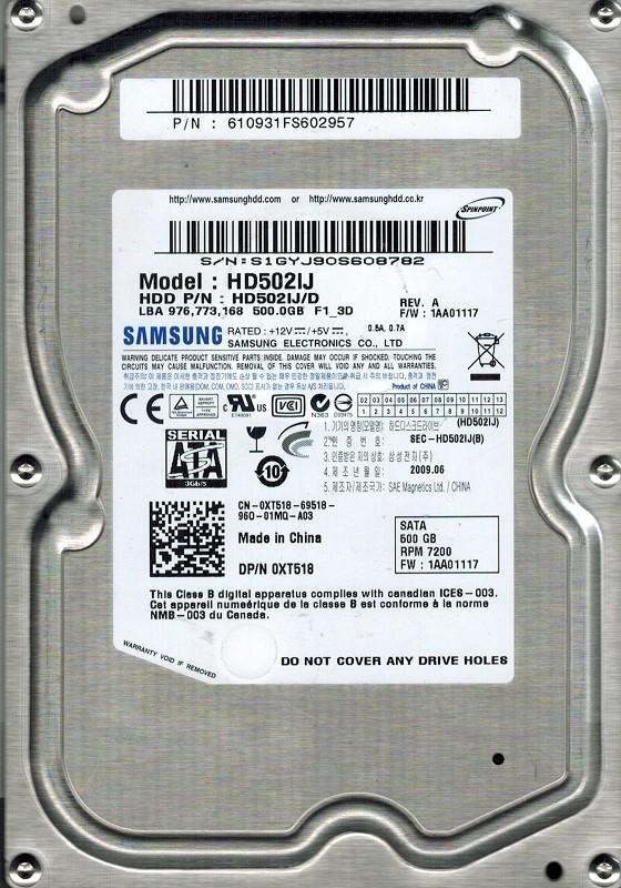 Samsung HD502IJ HD502IJ/D 500GB P/N: 610931FS602957