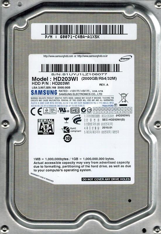Samsung HD203WI SPINPOINT 2TB SATA P/N: 60071-C48A-A1XSK
