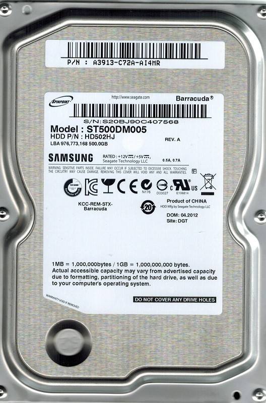Samsung ST500DM005 HD502HJ 500GB P/N: A3913-C72A-AI4MR
