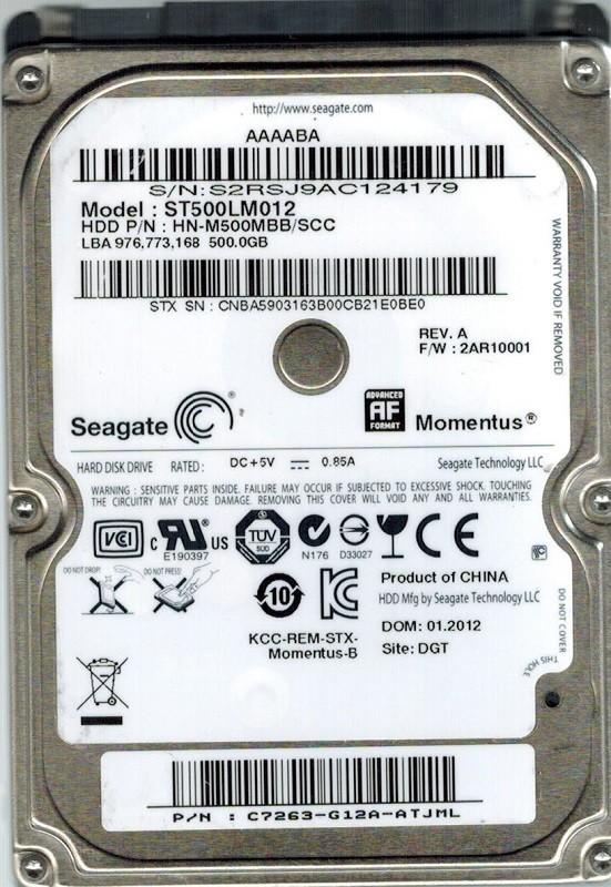 Seagate ST500LM012 HN-M500MB/SCC P/N: C7263-G12A-ATJML F/W: 2AR10001 DGT 500GB