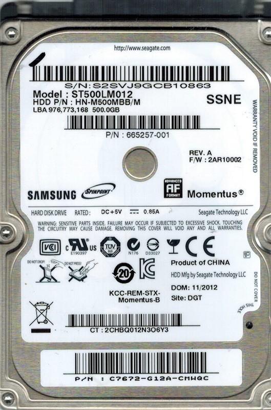 Samsung ST500LM012 HN-M500MBB/M F/W: 2AR10002 500GB Seagate